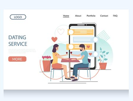Dating service vector website template, web page and landing page design for website and mobile site development. Virtual relationship, romance application.