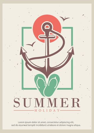 Summer grunge typography poster design template, vector illustration in retro style. Yacht vacation, boat trip concept for banner, flyer.