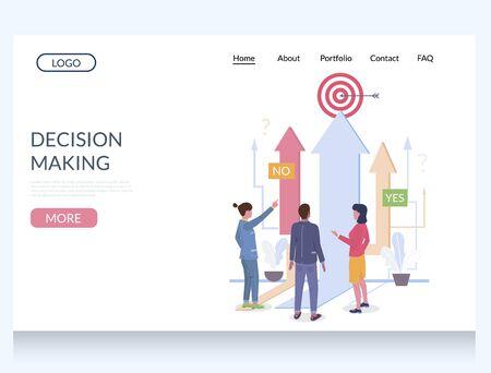Decision making vector website landing page design template