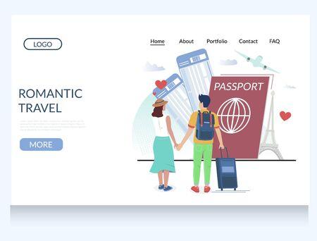 Romantic travel vector website landing page design template Vetores