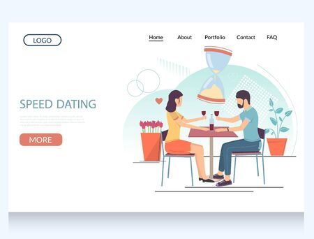 Speed dating vector website landing page design template Ilustrace