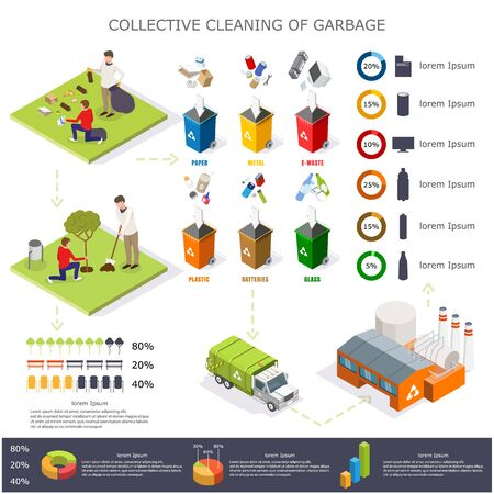 Garbage cleaning infographics, vector flat isometric illustration Vektorgrafik