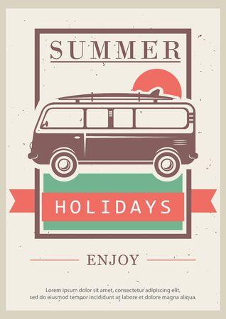Enjoy summer holidays vector retro poster design template Illusztráció