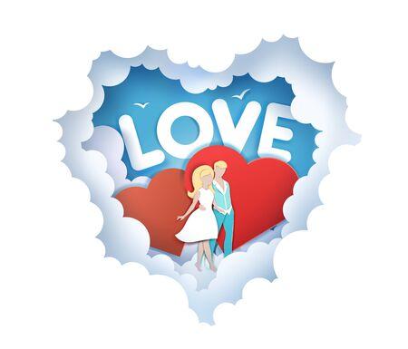 Romantic love, vector illustration in paper art craft style