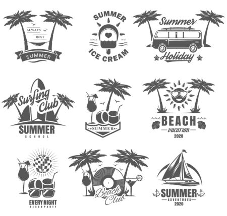 Vector set of summer adventure, beach vacation, night party, surfing vintage logos, emblems, labels and badges. Black and white monochrome illustration in retro style.
