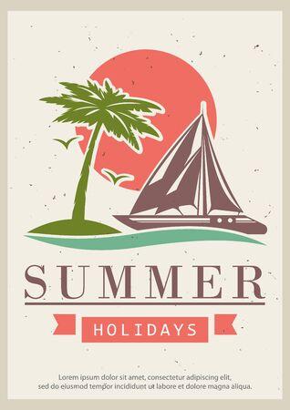 Summer holidays vector retro poster design template Ilustracja
