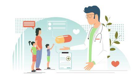 Pediatrician vector concept for web banner, website page Vektorgrafik
