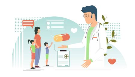Pediatrician vector concept for web banner, website page Vektorové ilustrace