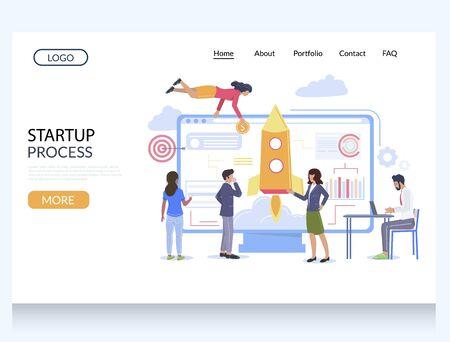 Startup process vector website landing page design template