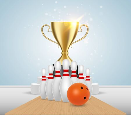 Bowling game tournament winner poster template. Vector realistic illustration of bowling ball, alley, skittles and gold trophy cup standing on white podium. Ilustração