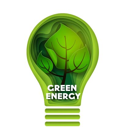 Green energy vector layered paper cut style illustration. Green plant inside of lightbulb. Ecology, save environment concept.