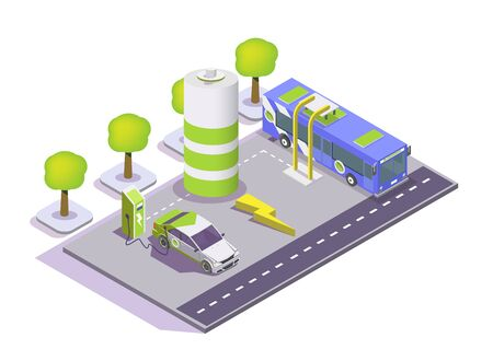 Electric vehicle charging station, electromobile and city public bus, vector flat isometric illustration. Electric refueling, eco transport.