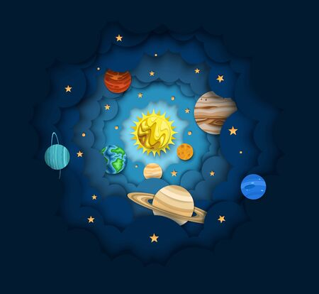 Solar system, vector layered paper cut style illustration. The sun and planets orbiting it. Astronomy science, outer space composition for web banner, website page etc.