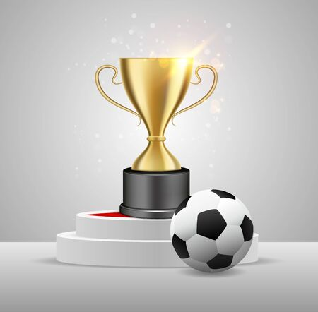 Soccer ball and trophy award on white round podium, vector illustration. Football championship winner composition for poster, banner, emblem, etc.
