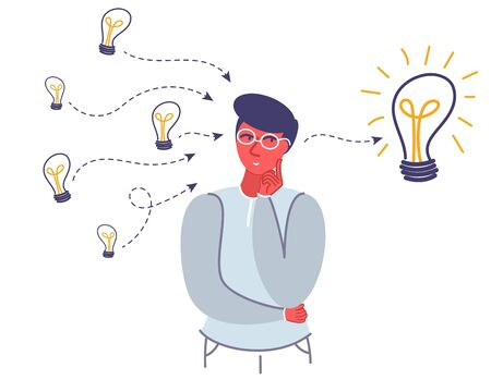 Thinking young man and light bulbs, vector flat style design illustration. Search for ideas, generation of innovative ideas concept for web banner, website page etc.