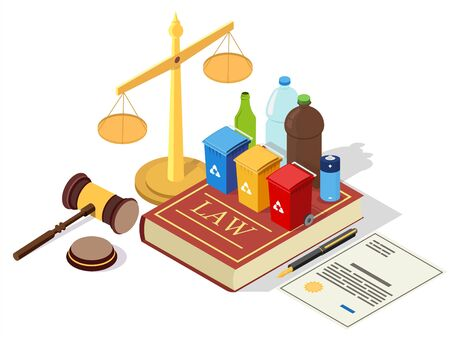 Recycling laws vector concept illustration. Legal symbols Law book with trash cans and household waste, scales of justice, judge gavel, agreement. Isometric composition for web banner, website page.