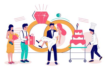 Huge wedding rings and micro characters bride and groom, guests with gifts, chef with big cake, vector flat illustration. Wedding organizer service, party celebration concept for website page etc. 向量圖像