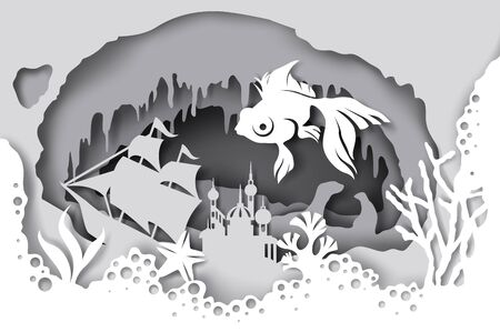 Vector layered paper cut style underwater sea cave with coral reef, fish, seaweed, sunken ship. Beautiful marine life in aquarium in paper art craft style. Underwater walking tour.