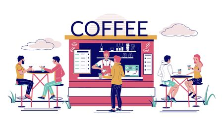 Street coffee shop, cafe with barista making coffee to go for man and visitors sitting at tables, vector flat illustration. Outdoor cafeteria, restaurant terrace concept for web banner, website page.