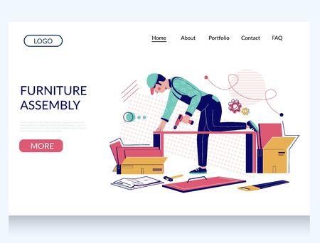 Furniture assembly vector website landing page design template