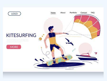 Kitesurfing vector website landing page design template Vector Illustration