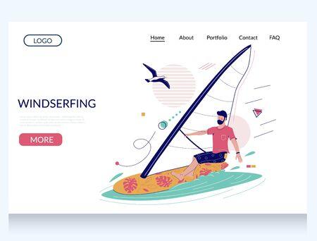 Windsurfing vector website landing page design template Illustration