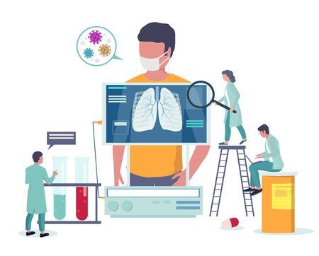 Respiratory lung disease medical checkup. Virus epidemic 2020 vector poster. Coronavirus disease prevention and awareness. Corona virus medical banner template. Lung x-ray test.