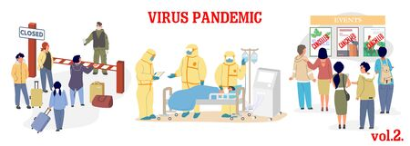 Virus epidemic vector illustration. Coronavirus respiratory disease prevention. Closed borders, ICU room and doctors in protective suits, quarantine and canceled events. Corona virus pandemic.