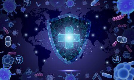 Vektorplakat der Virusepidemie 2020. Prävention und Aufklärung von Atemwegserkrankungen des Coronavirus. Hintergrund des Erregerkeims des Corona-Virus. Medizinische Banner-Vorlage. Vektorgrafik