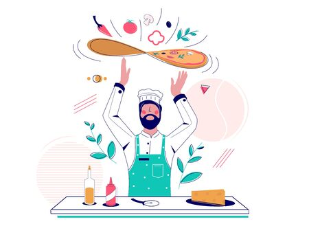 Man in chef hat and apron tossing pizza dough, vector flat illustration. Restaurant cook making italian pizza. Pizzeria business concept for web banner, website page etc.