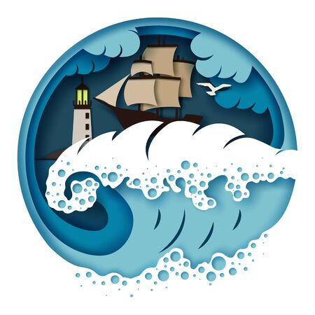 Sailboat and raging sea, vector illustration in paper art style