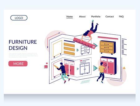 Furniture design vector website landing page design template Ilustracja