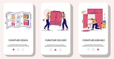 Furniture online mobile app onboarding screens vector template