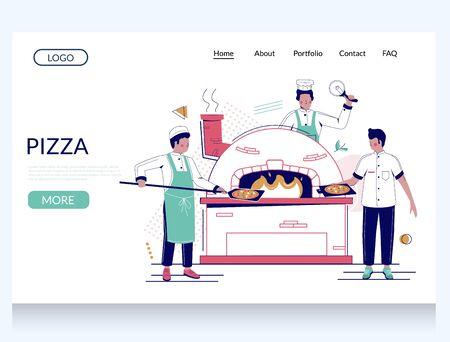 Pizza vector website landing page design template