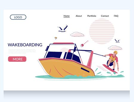 Wakeboarding vector website landing page design template