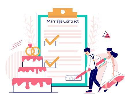 Bride and groom signing marriage contract, vector flat Illustration. Happy couple getting married and signing marriage contract or prenuptial agreement form with check marks on huge clipboard.