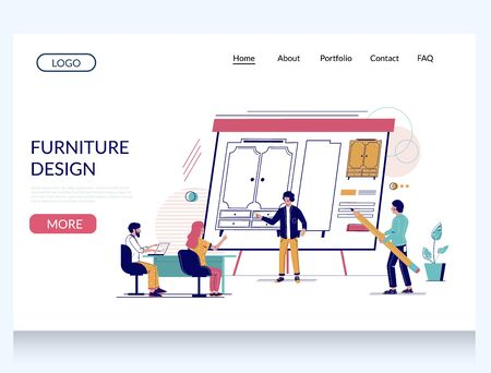 Furniture design vector website landing page design template Vecteurs
