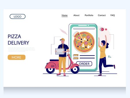 Pizza delivery vector website landing page design template  イラスト・ベクター素材