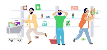 Corona virus panic buying, vector flat illustration