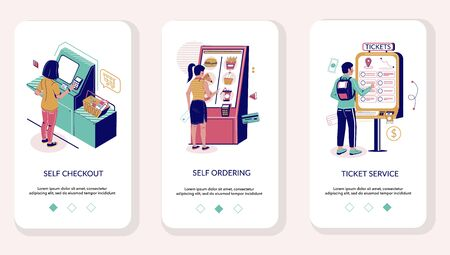 Self service mobile app onboarding screens vector template