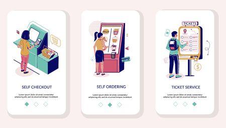 Self service mobile app onboarding screens vector template Illustration