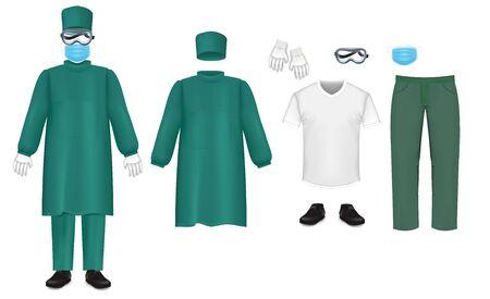 Bakteriologischer grüner Schutzanzug, isolierte Vektorgrafik