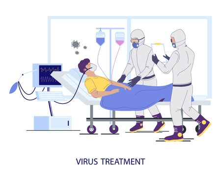 Hospital coronavirus treatment concept vector flat illustration