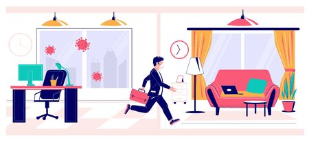 Remote work policy concept vector flat illustration Stock Illustratie