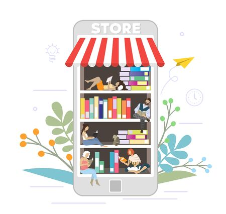 Bookstore online concept vector flat style design illustration