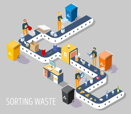 Waste sorting plant, vector flat illustration. Isometric garbage sorting plant for municipal solid waste with conveyor line and workers for web banner, website page etc.