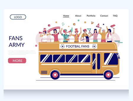 Fans army vector website landing page design template