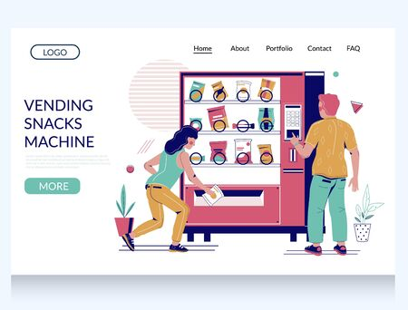 Vending snacks machine vector website template, landing page design for website and mobile site development. People buying snack food from dispenser. Vending machine business and service. Vector Illustratie
