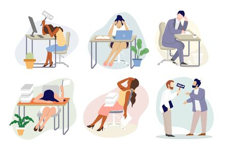 Stressed exhausted tired business people at workplace, vector flat isolated illustration. Overworked stressed people sitting at tables, arguing with each other, holding help sign. Emotional burnout.