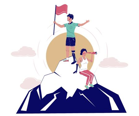 Disabled people conquering mountain peak, vector flat illustration. Path to success concept. Happy male and female characters with disabilities overcoming difficulties and achieving success in life.